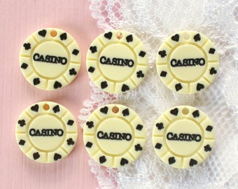 6 Pcs Tiny Casino Poker Chip Charm Cabochon - 14mm Have Hole For Pendant Making