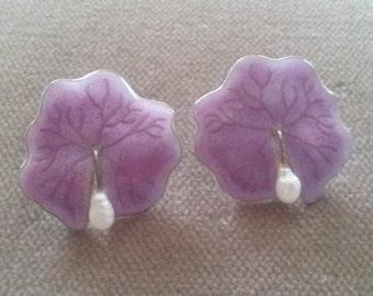 Vintage Sterling Enamel Pearl Earrings