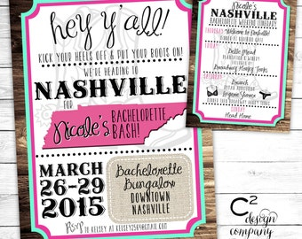 Mint/Pink Nashville Bachelorette Party Invitation with Itinerary