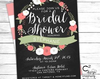 Pink Floral Chalkboard Bridal Shower Invitation