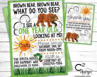 Brown Bear, Brown Bear Birthday Invitation with Thank You Card