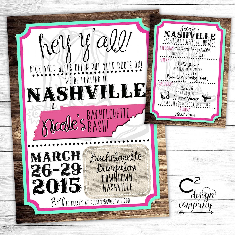 Mint/Pink Nashville Bachelorette Party Invitation with