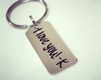 Actual Handwriting Key Chain - With your Personalized Signature -  Signature Jewelry - Handwritten Key Chain