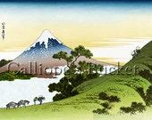 Inume Pass in Kai Province - From the series Thirty-six Views of Mount Fuji - 冨嶽三十六景 甲州犬目峠, Ukiyo-e woodblock print.
