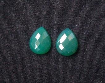 15x20 mm Pear pair NATURAL genuine GREEN ONYX checker flat top cut faceted gemstone....