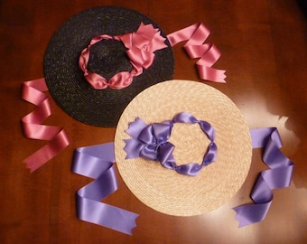 Color Choices! 18th Century Shallow Crown Straw Hat Trimmed w/ Silk Satin Ribbon Poofs and Bow for Colonial Rev War Clothing (ACC-H14)