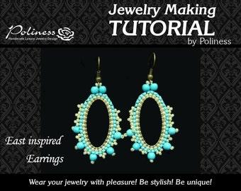 Step by step - Tutorials- Patterns - Hoop earrings - Beaded pattern - East Inspired Earrings - Beaded earrings - Jewelry tutorial  - PDF