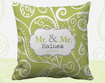 Mr and Mr Personalized Printed Throw Pillows. 14 Colors Available, Wedding Gift, Home Decor, Cushion, Newlywed, Groom, Gay, LGBT, Silent Era