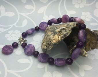 Purple Bracelet, Crazy lace agate bracelet, gemstone bracelet, purple stone bracelet, purple jewelry, gemstone jewelry, beaded bracelet
