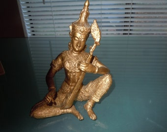 1960s cast solid metal 6 inch Thai figure playing a lute