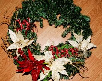Peace and Joy Christmas Wreath