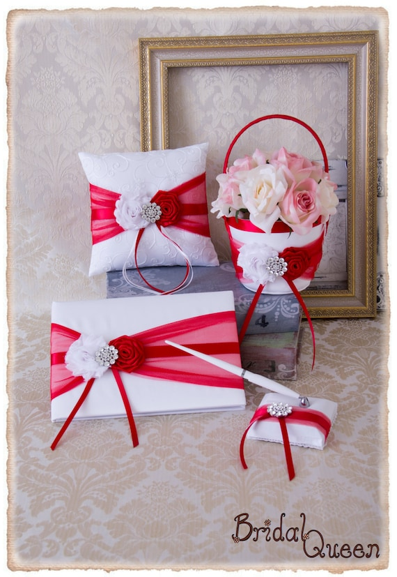 red and white wedding accessories set wedding ring bearer pillow