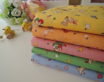 "Bundle of 1/8 Lecien Retro 30s Child Smile Kids in 5 Colorways. Approx. 9"" x 22"" Made in Japan"