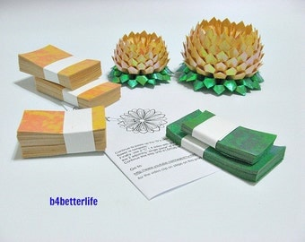 464 sheets of Yellow Color Papers Kit For Making 4pcs of Origami Lotus In 2 Different Sizes. (TX paper series). #TX464-5.