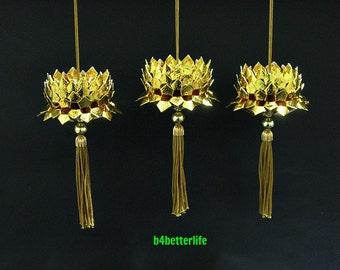 Lot of 3pcs Gold Color Mini Size Origami Hanging Lotus. (Foil paper series). #FLT-148.