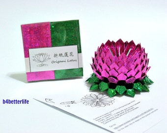 Pack Of 200 sheets Pink Color DIY Origami Lotus Paper Folding Kit for Making 2pcs of Medium Size Lotus. (4D Glittering Paper Series).