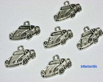 "Lot of 24pcs Antique Silver Tone ""Sport car"" Metal Charms. #BC4020."