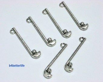 """Lot of 24pcs Antique Silver Tone """"Golf Club"""" Double Sided Metal Charms. #BC4069."""