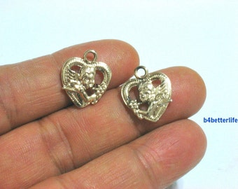 "Lot of 24pcs Double Sided ""Angel Love Heart"" Gold Color Plated Metal Charms. #XX476."