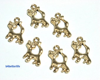 """Lot of 24pcs """"Cat"""" Gold Color Plated Metal Charms. #XX182."""