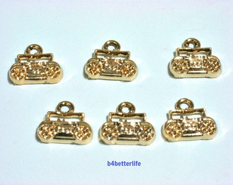"Lot of 24pcs ""Vintage Portable Cassette Player"" Gold Color Plated Metal Charms. #XX199."