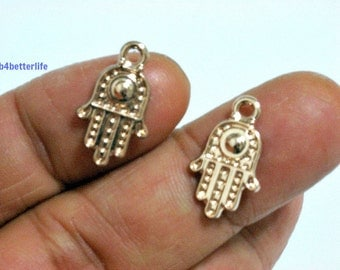 "Lot of 24pcs ""Hamsa Evil Eye"" Gold Color Plated Metal Charms. #XX335."