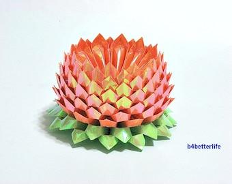 A Piece of Large Size Orange Color Origami Lotus. 132 Petals. (AV paper series). #FLT-25.