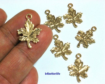 "Lot of 24pcs ""Maple Leaf"" Gold Color Plated Metal Charms. #SW2132."