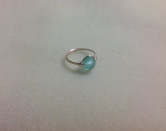 Sea foam green frosted glass ring