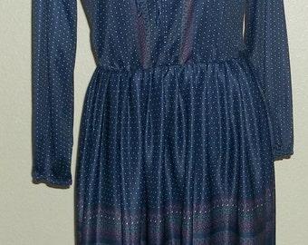 Vintage Navy Blue Floral Pullover, Tie Front Dress 1970's