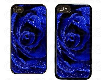 iPhone 4 4s 5 5s 5c SE Case Rubber Blue Rose