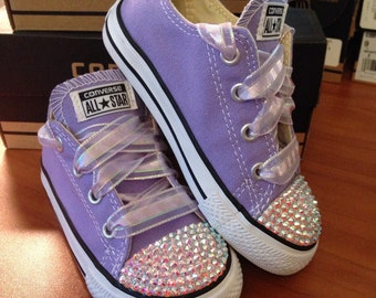 Light Purple Lavendar Bling Converse