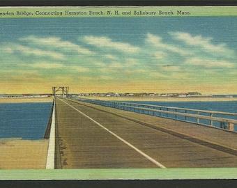 Vintage Linen Postcard -  Wood Bridge Connecting Hampton Beach NH & Salisbury Beach Massachusetts   (1233)
