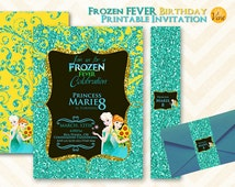 FROZEN FEVER Elsa and Anna Printable Birthday INVITATION + belly band