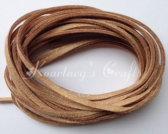 Gold Glitter Faux Suede Leather Cord Size 3mm 5yards/bundle