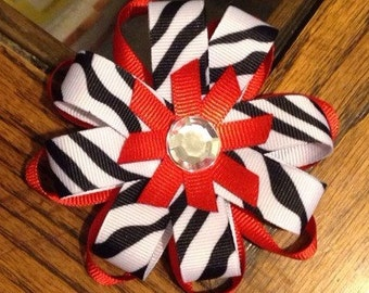 Red and Zebra Print Bow