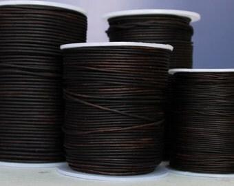 1.8mm  dyed dark brown premium leather- 25 meters/81.25 feet