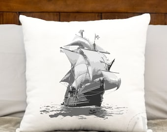 Santa Maria Pillow - Ship Pillow Cover with Down Alternative Insert - 14 x 14 Cushion Cover - Christopher Columbus Ship Pillow