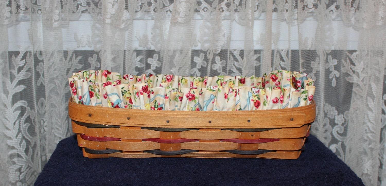 Handmade Longaberger Basket Liners : Longaberger cracker basket liner handmade roses and