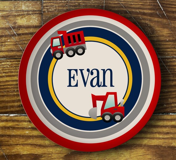 Personalized Dinner Plate or Bowl - Trucks