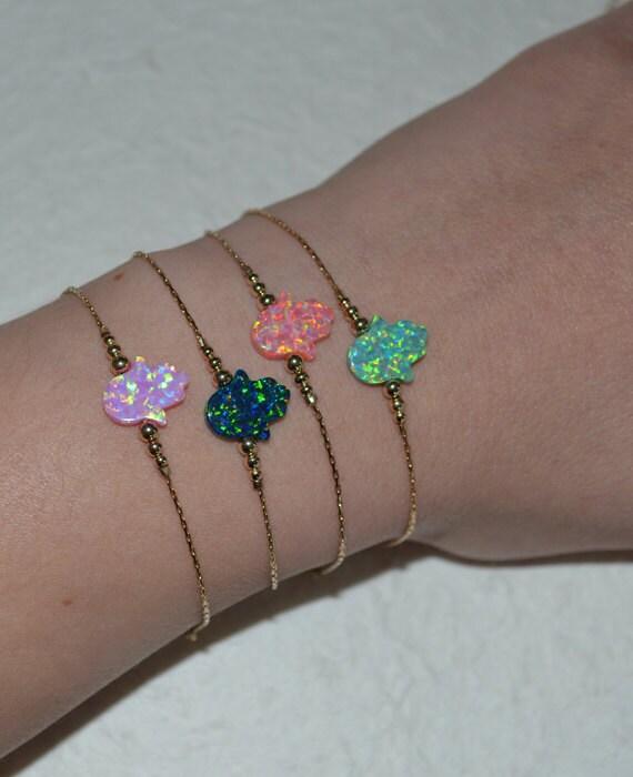 Elegant Opal Hamsa Bracelet, Opal Jewelry, opal hamsa hand gold bracelet, simple tiny protection/good luck/evil eye bracelet