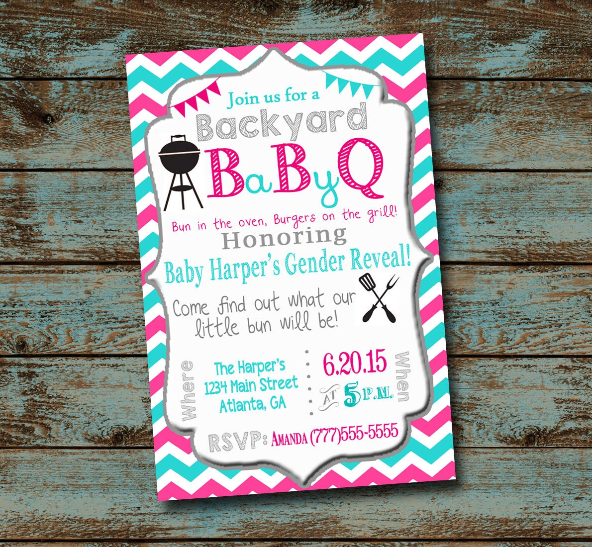 Baby Shower Reveal Party: Baby BBQ Gender Reveal Baby Shower Digital File Chevron