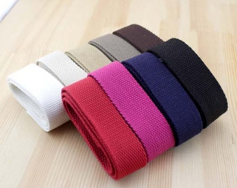 5 Yards, 32mm / 3.2cm / 1 1/4 inch Width Solid Thick Cotton Strap, Ten Colors Available