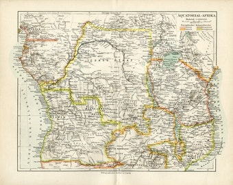 AFRICA C. 1895 Antique Map of Equatorial Africa Congo Vintage Decor Geography Historical