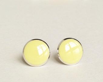 Yellow Earrings, Pale Yellow Stud Earrings, Flat Top Stud Earrings, 12 mm Stud Earrings, Simle Yellow Stud Earrings, Resin Jewelry