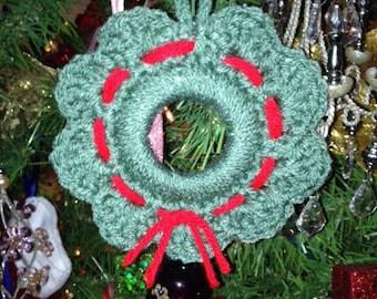 Crochet Christmas Wreath Ornament or Fridgie Magnet