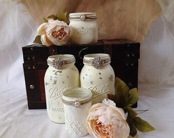 Vintage Wedding Mason Jars - Rustic Wedding Table Decor -Reception Table Decor - Ivory Hand Painted Mason Jars with Silver Brooch