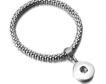 Classy Stretch Woven Silver Dangle Charm Bracelet