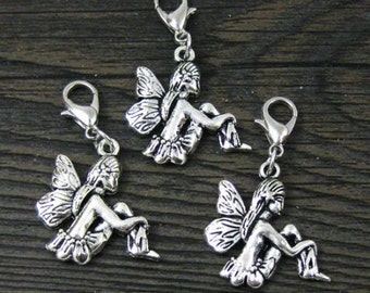 1 pc. Large Silver Sitting Fairy Dangle for Bracelets, Floating Charm Pendants, Necklaces & Keychains  D031