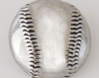KB7757  Silver Etched Baseball Charm